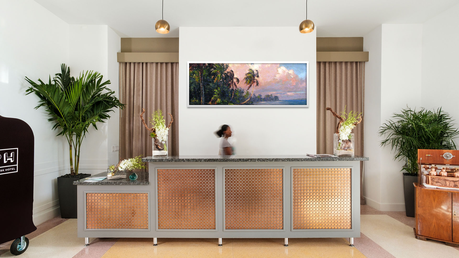 flat screen tv and free wifi the dcor is light and airy with watercolor style wallpaper and wood panel flooring we are here for the wallpaper