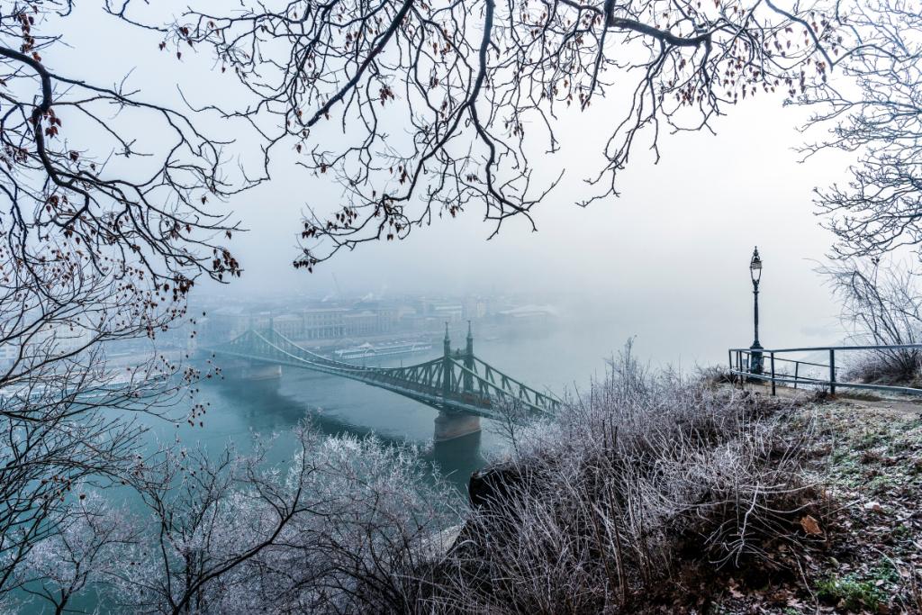 Sunrise shot of Liberty Bridge in Budapest