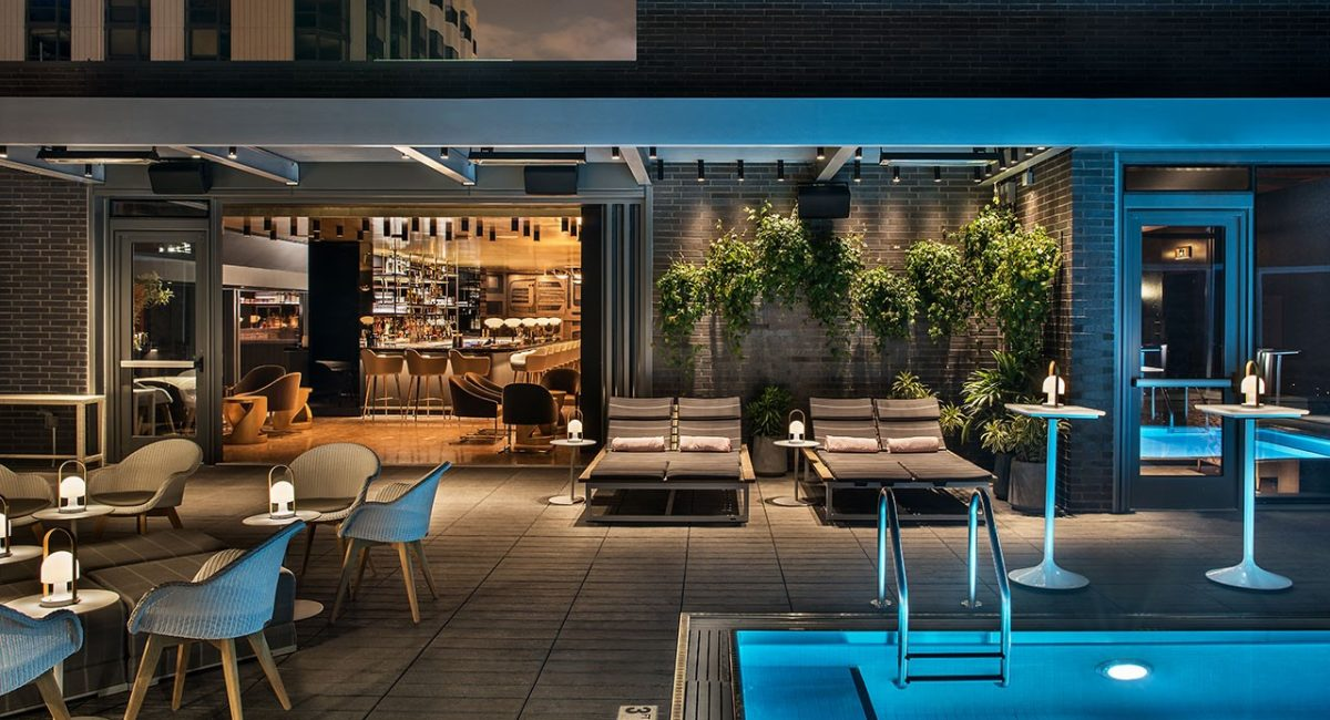 Viceroy Chicago pool at night