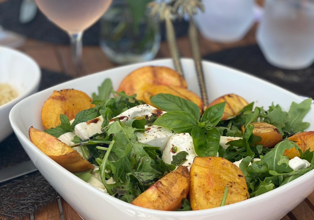 grilled peach and burrata slad seasonal salads