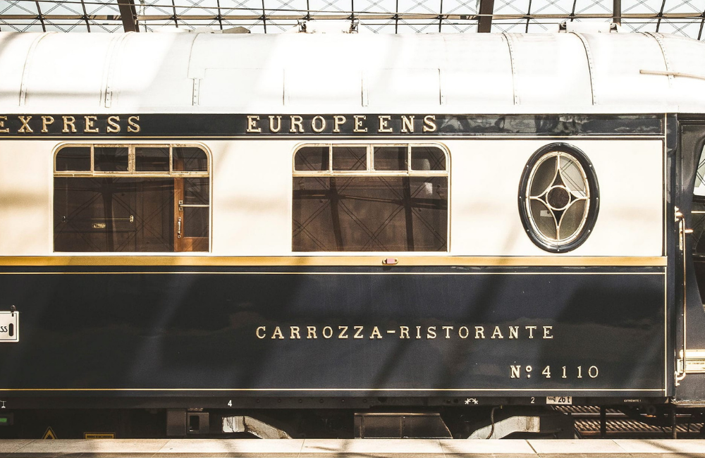 Luxury Train Journey in Europe: train parked in the station