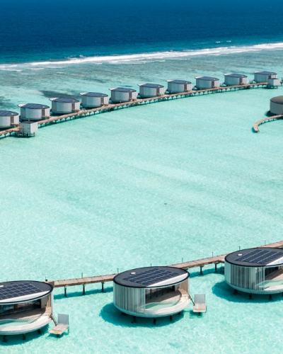 he Ritz-Carlton Maldives, Fari Islands arial view