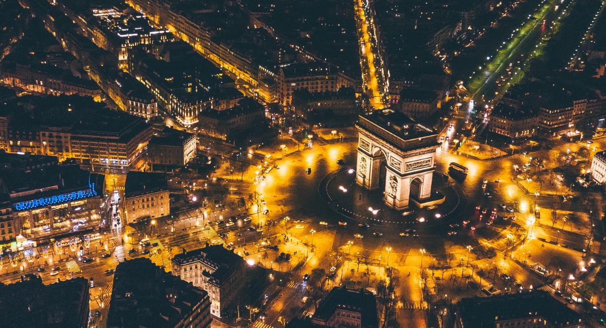 arial view of paris at night