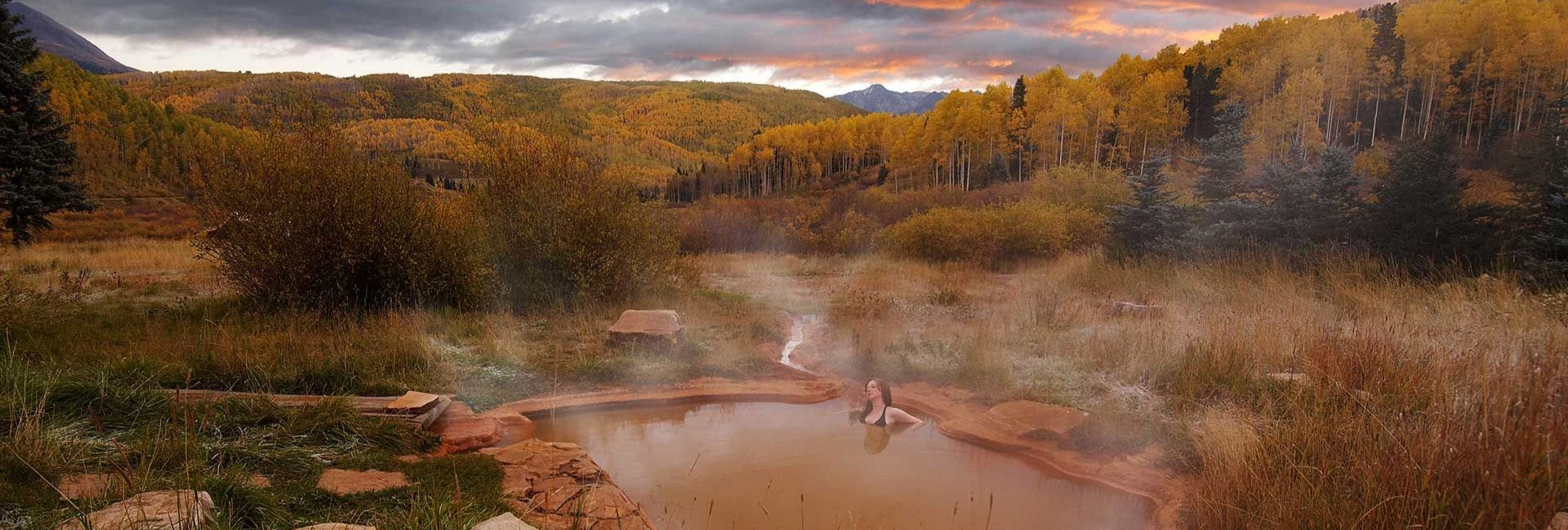 hot springs in the US at fall